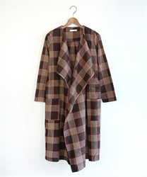 Tweed check pattern coat(Brown-Free)