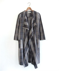 Tweed check pattern coat(Grey-Free)