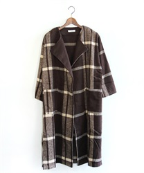 Large check pattern coat(Brown-Free)