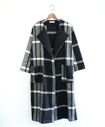 Large check pattern coat(Black-Free)