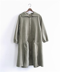 Zip up hooded coat(Khaki-Free)