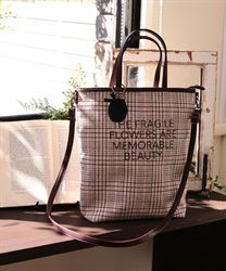 2 way check tote(Pale pink-M)