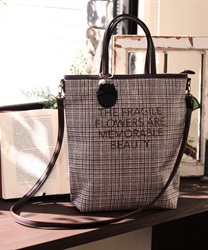 2 way check tote(Brown-M)