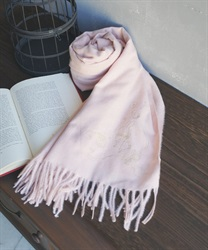 【2Buy10%OFF】Clock tower rabbit stole with embroidery(Pale pink-M)