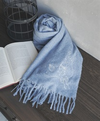 【2Buy10%OFF】Clock tower rabbit stole with embroidery(Blue-M)