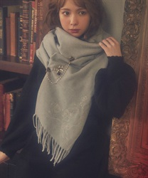 【2Buy10%OFF】Clock tower rabbit stole with embroidery(Grey-M)