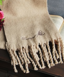 Logo embroidery stole(Beige-M)
