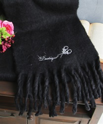Logo embroidery stole(Black-M)