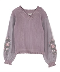 【Black Friday】Tulle×embroidery knit(Purple-Free)
