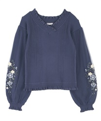 【Black Friday】Tulle×embroidery knit(Blue-Free)
