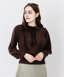 Frilled volume sleeve knit(Dark brown-Free)