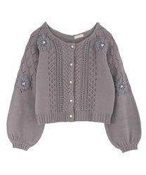 Ribbon Embroidery Openwork Knit Cardigan