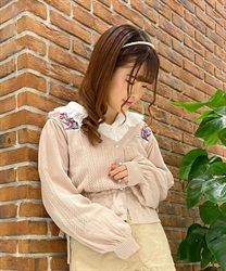 Knit cardigan with tulip embroidery(Pale pink-Free)