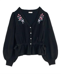 Knit cardigan with tulip embroidery(Black-Free)