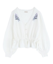 Knit cardigan with tulip embroidery