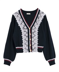 Line design cardigan(Navy-Free)