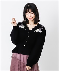 Partition embroidered cardigan(Black-Free)