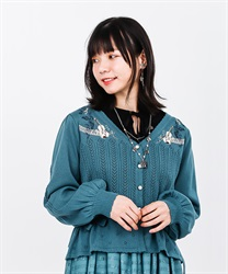Partition embroidered cardigan