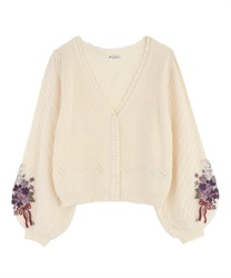 Bouquet embroidery × Tulle sleeve cardigan(White-Free)