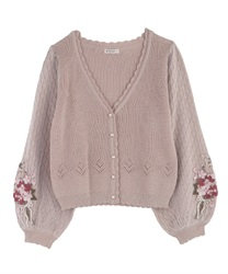 Bouquet embroidery × Tulle sleeve cardigan(Pale pink-Free)