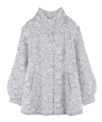 Floral jacquard knit cardigan(Saxe blue-Free)