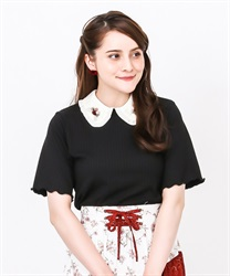 【2Buy20%OFF】Ribbed PO with wrapped rose collar(Black-Free)