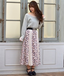 Floral x Lace Swiching Patterns Skirt(Ecru-Free)