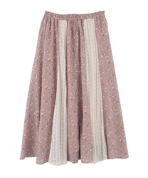 Floral x Lace Swiching Patterns Skirt(Pale pink-Free)