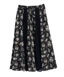 Floral x Lace Swiching Patterns Skirt(Black-Free)