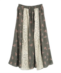 【2Buy10%OFF】Lace Flower Patchwork Skirt(Khaki-Free)