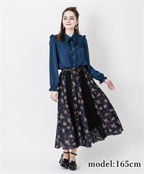 【2Buy10%OFF】Lace Flower Patchwork Skirt(Black-Free)