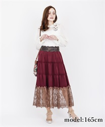 【2Buy10%OFF】Lace Tiered Skirt(Wine-Free)