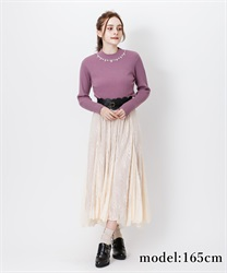Lacy long skirt(Beige-Free)