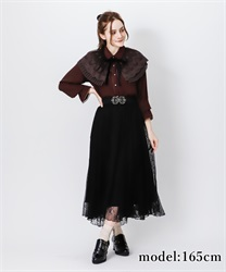 Lacy long skirt(Black-Free)