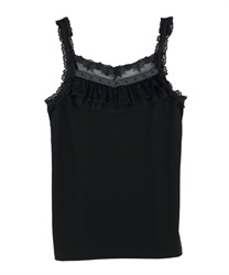 Tulle and Lace Layered Cami(Black-Free)