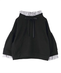 Pleated ruffle pullover(Black-Free)
