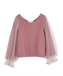 【2Buy10%OFF】Sleeve tulle cut pullover(DarkPink-Free)