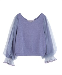 【2Buy10%OFF】Sleeve tulle cut pullover(Blue-Free)