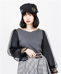 【2Buy10%OFF】Sleeve tulle cut pullover(Grey-Free)