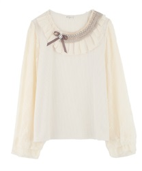 Pleated Collar and Lace x Chiffon Sleeved Pullover(Ecru-Free)