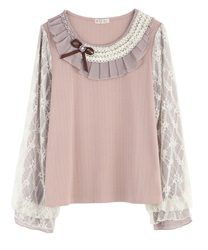 Pleated Collar and Lace x Chiffon Sleeved Pullover(Pale pink-Free)
