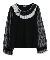 Pleated Collar and Lace x Chiffon Sleeved Pullover(Black-Free)