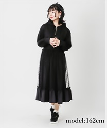 Dotted tulle hoodie dress(Black-Free)