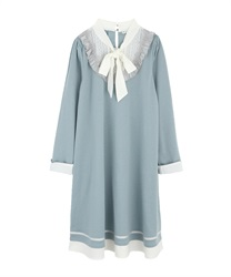 A-line bowtie dress(Saxe blue-Free)