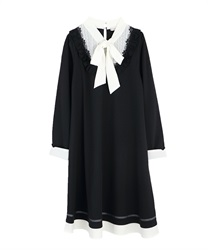 A-line bowtie dress(Black-Free)