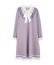 A-line bowtie dress(Lavender-Free)