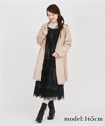 Cut suede coat with hood(Beige-Free)