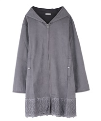 Cut suede coat with hood(Grey-Free)