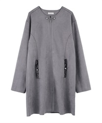 Collarless suede coat(Grey-Free)