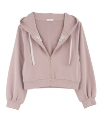 Embroidery Short Hoodie with Jewels(Pale pink-Free)